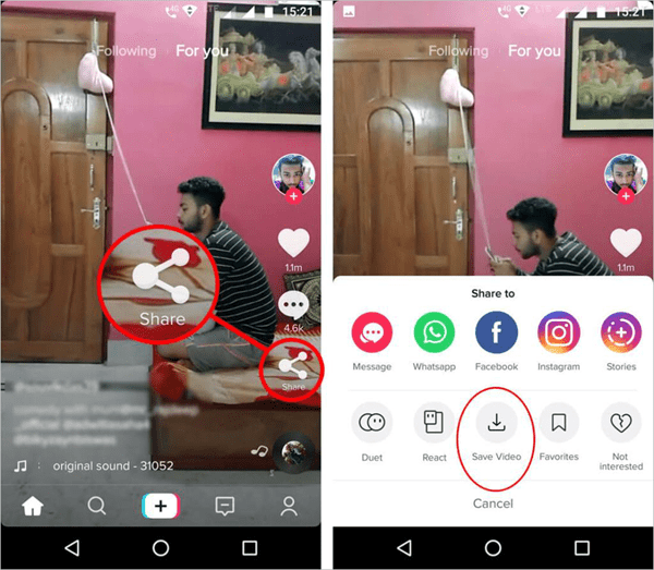 Follow the steps below to save TikTok videos on Android phone