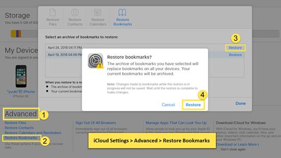 Restore iPhone Safari Bookmarks from iCloud Web