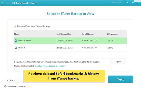 Restore Safari Data from iTunes backup