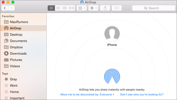 AirDrop Files from iPhone to Mac