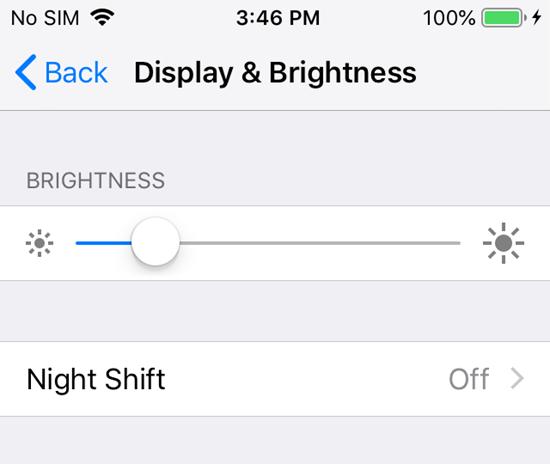 Change iphone screen brightness.