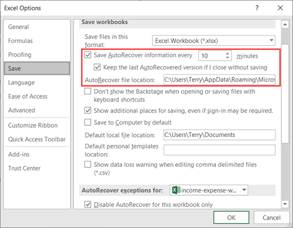 How to Configure the AutoRecover Settings in Excel