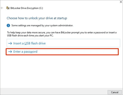 Using password to Get Photos Encrypted Before Uploading to Cloud with BitLocker.