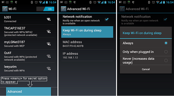 Keep Wi-Fi enabled during sleep to Delayed Notifications on Android.