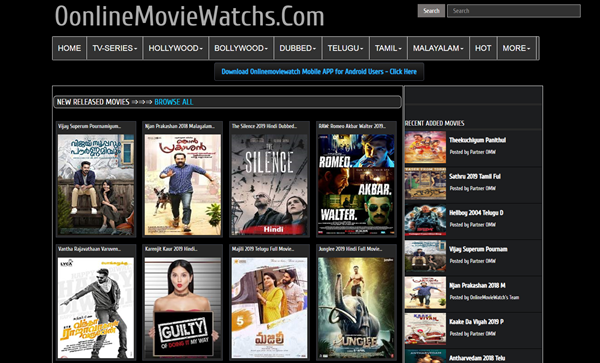 OnlineMovieWatchs is one of the top best Alternative Websites to TamilGun in 2019.