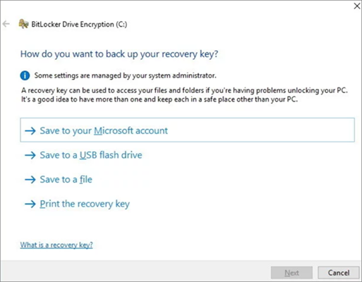 Recovery key backup to Get Photos Encrypted Before Uploading to Cloud with BitLocker.