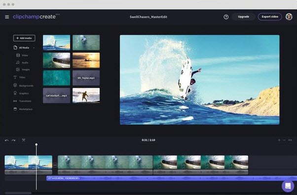 clipchamp-online video editor