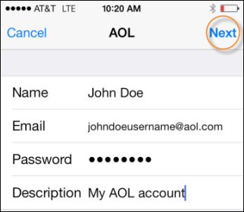 Remove AOL Account from iPhone and Add It Back