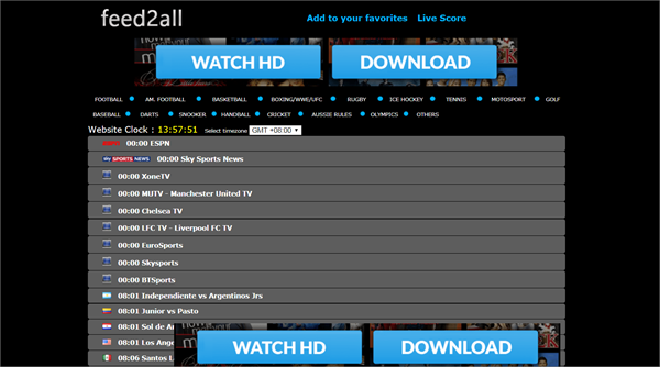 Feed2All is one of the top best Websites Like VipBox to Watch Sports Stuff.