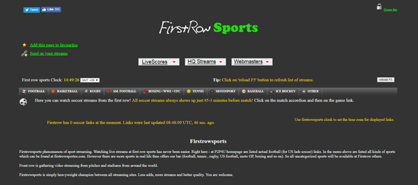 FirstRow Sports is one of the top best Websites Like VipBox to Watch Sports Stuff.