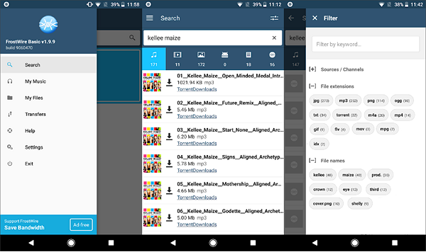 FrostWire is one of the best Torrent Apps and Downloaders for Android.