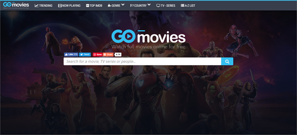 GoMovies is one of the top best Project Free TV Alternative Websites for Free Video Streaming.