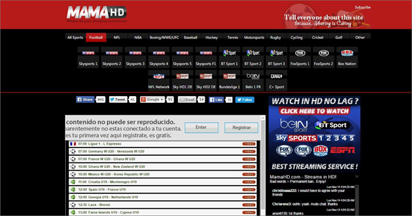 MamaHD is one of the best Websites Like FirstRow Sports for Online Sports Streaming.