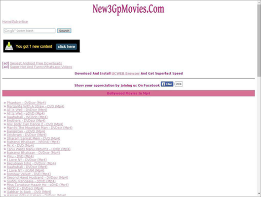 New 3Gp Movies is one of the best Websites to Download Bollywood Movies Online for Free.