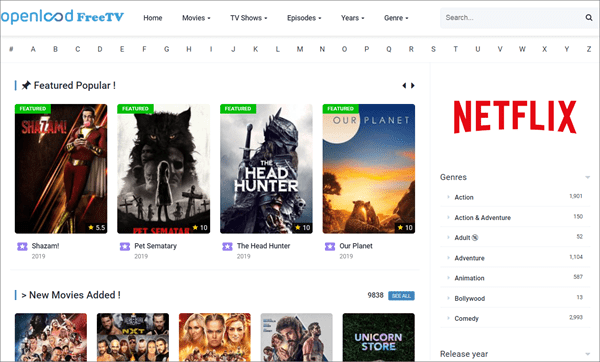 Openload Free TV is one of the top best Rainierland Alternative Websites to Watch Movies.
