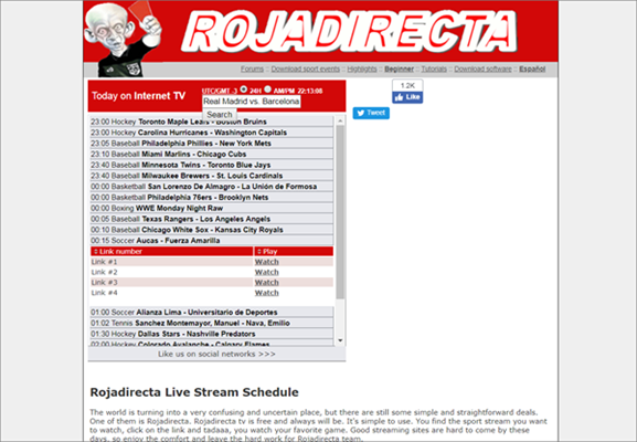 Rojadirecta is one of the best Websites Like FirstRow Sports for Online Sports Streaming.