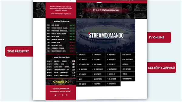 Streamcomando is one of the best Websites Like FirstRow Sports for Online Sports Streaming.