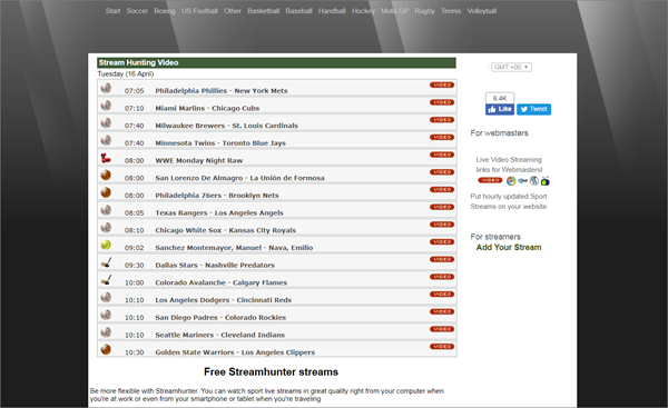 StreamHunter is one of the best Websites Like FirstRow Sports for Online Sports Streaming.