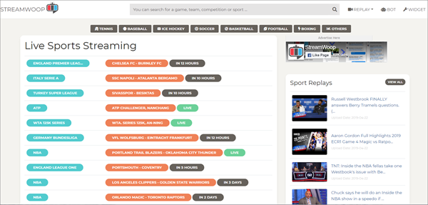 StreamWoop is one of the top best Websites Like VipBox to Watch Sports Stuff.