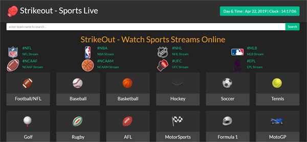 StrikeOut is one of the top best Websites Like VipBox to Watch Sports Stuff.