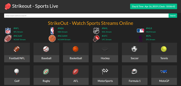 StrikeOut is one of the best Websites Like FirstRow Sports for Online Sports Streaming.