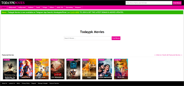 TodaypkMovies is one of the top best Bolly4uHD Alternative Websites Providing Blue-Ray Movies.