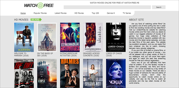 Watch Free is one of the bop best Alternatives to 123Movies for You.