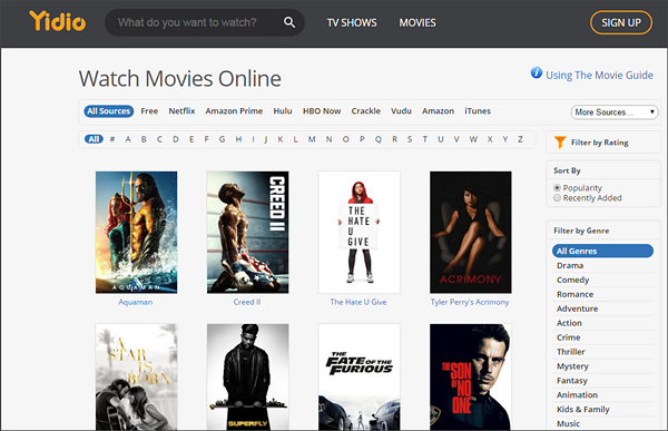 Yidio is one of the best Free Online Movie Streaming Sites in 2019.