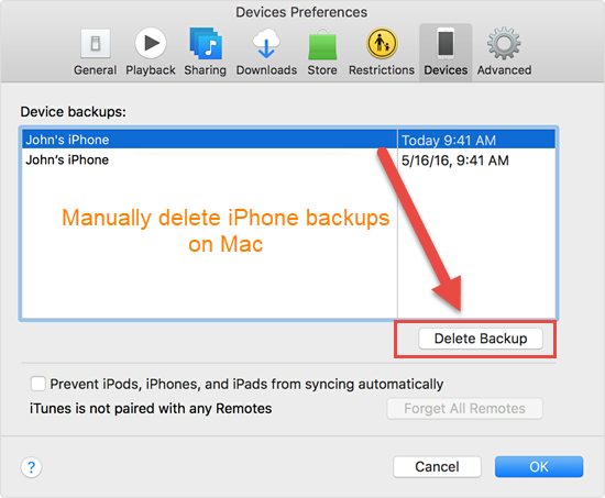 Manually Delete iPhone Backups on Mac or Windows PC
