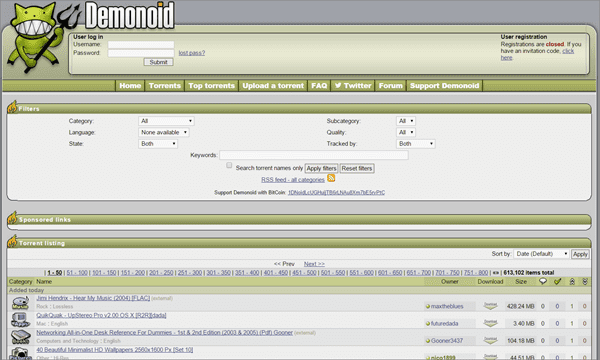 Demoniod is one of the best Alternatives to Torrentz website.