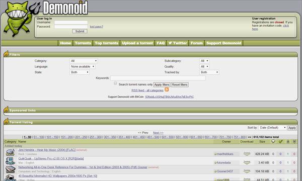 Demoniod is one of the best Alternatives to Torrentz website.