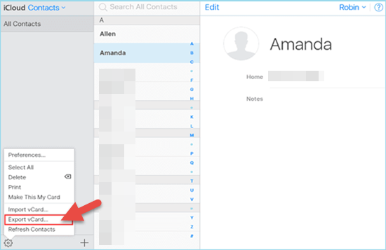 Export Contacts from iPhone to Mac or PC via iCloud