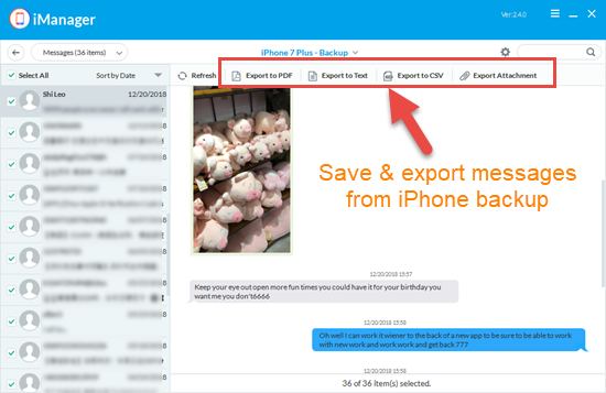 Extract and save the contents of iPhone backup selectively