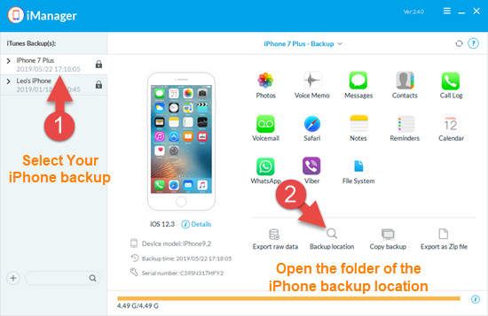 Find iPhone or iPad backup location with iManager