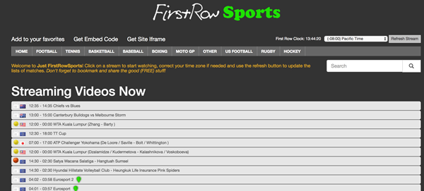 First Row Sports is one of the best Football Live Streaming Sites to Watch Soccer Live on TV.
