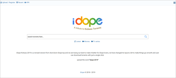 iDope is one of the best Torrent Sites to download TV Shows/Series.