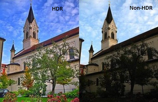The difference of HDR and Non-HDR pictures from the following image.