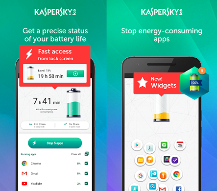 Using Kaspersky Battery Life Saver & Booster to Stop Apps Running in the Background on Android.