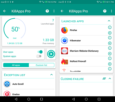 Using KillApps to Stop Apps Running in the Background on Android.