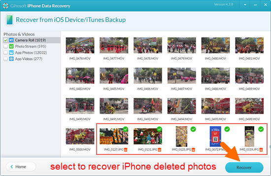 Compare, preview and select to recover the deleted iPhone photos.
