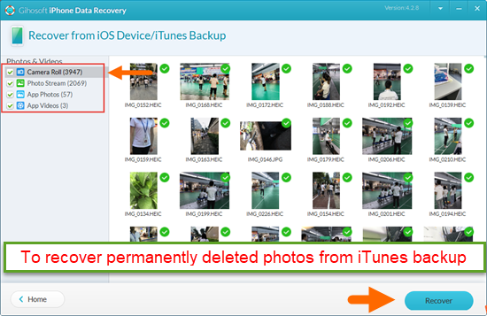 Recover Permanently Deleted iPhone Photos from iTunes Backup.