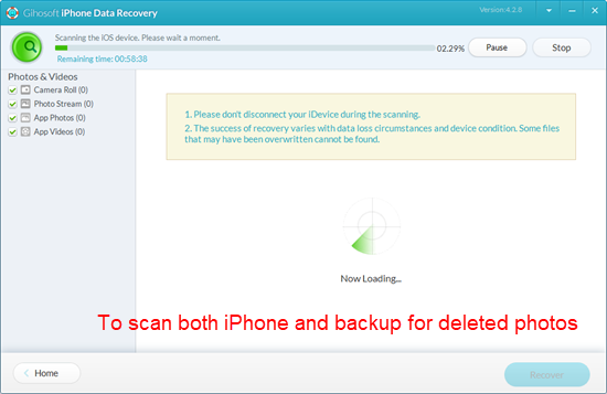 Analyze, scan both iPhone and the backup for deleted photos.