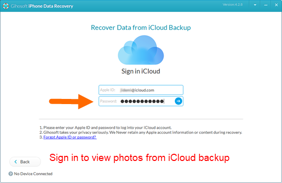 Login to iCloud with your Apple ID to view iCloud data.