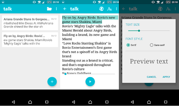 Talk Free is one of the best Text to Speech Apps and Tools for Android.