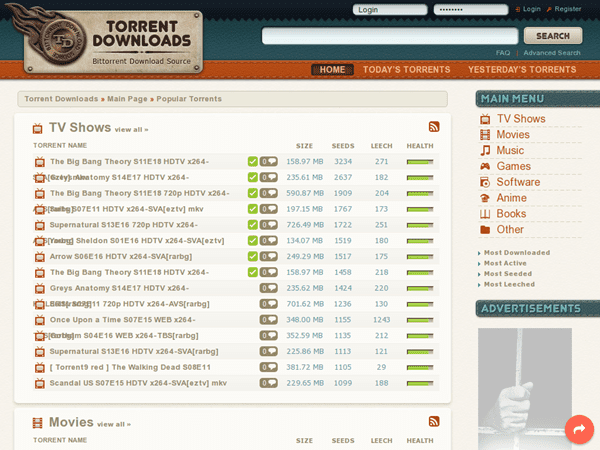 Torrent Downloads is one of the best Alternatives to Torrentz website.
