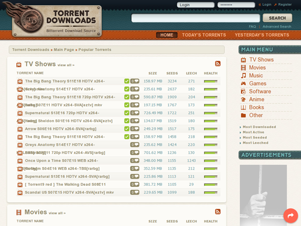 Torrent Downloads is one of the best Alternatives to Torrentz website.