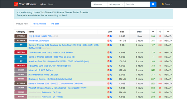 YourBittorrent is one of the best Torrent Sites to download TV Shows/Series.