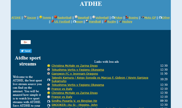 Atdhe is one of the top WiziWig alternative free sports streaming sites.