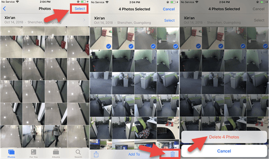 How to delete individual photos.