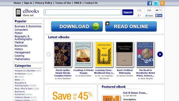 Using EBookShare to download free books.